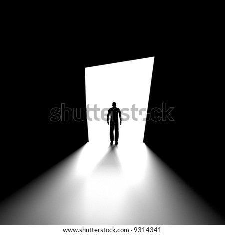 Black and white image of human figure