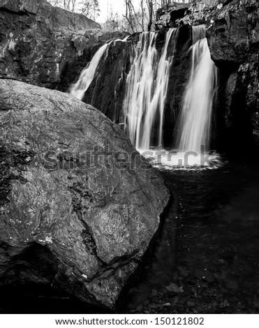 Black and white image of Kilgore Falls at Rocks State Park, Maryland