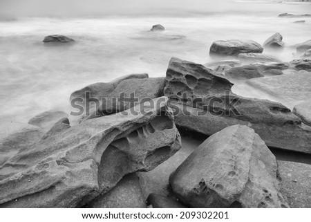 Black and white image of Kings Beach - Sunshine Coast - QLD stock photo
