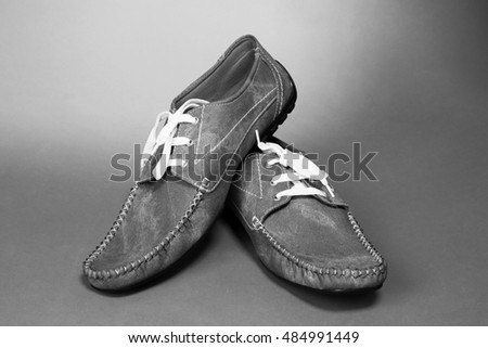 Black and white image of man casual shoes #484991449
