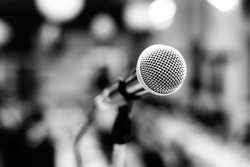 Black and white image of microphone - black and white