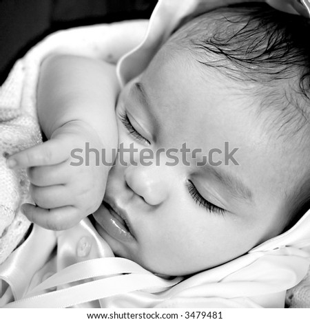 Black and White image of resting baby boy