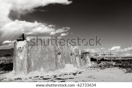 Black and White image of the Abiquiu Morada in Abiquiu, New Mexico
