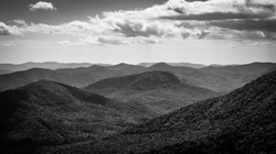 Black and white image of the Blue Ridge Mountains located off of the Blue Ridge Parkway near Asheville, North Carolina