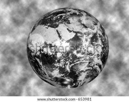black and white image of the globe against a textured background