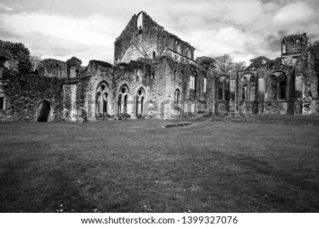 Black and white image of the ruined 13th century Cistercian Monastery, Netley Abbey