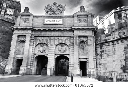 Black and white image of Victoria Gate, Valletta, Malta - Built by the British in 1884 replacing the old Porta Del Monte which was built by the Knights of St John.