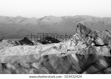 Black and White image of Zabriskie Point Death Valley California