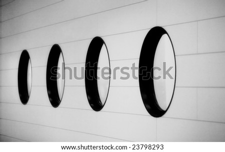 Black and white image - Row of round windows