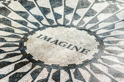 Black and White Imagine Tribute Sign on the Foor. Historic Mosaic Memorial in Central Park, Manhattan, New York City, USA
