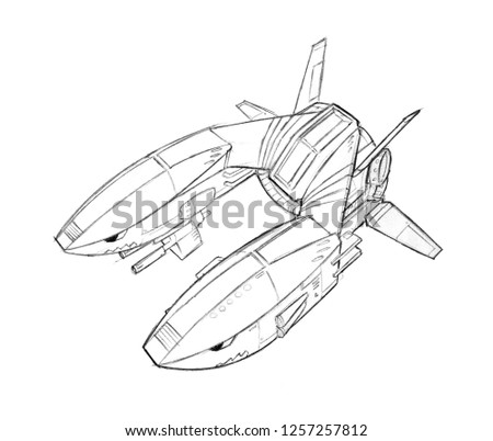 Black and white ink concept art drawing of futuristic or sci-fi spaceship or spacecraft or aircraft.