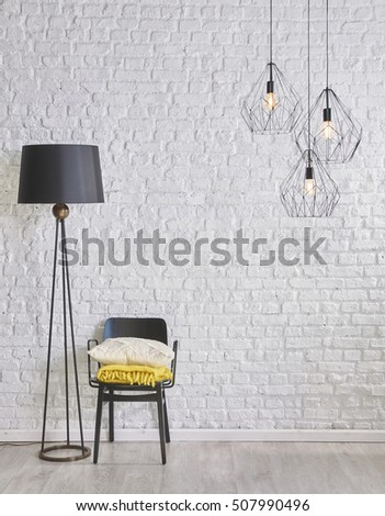 black and white interior concepts and modern lamp, brick wall #507990496