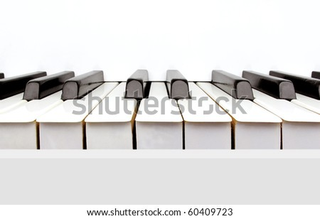 Black and white keys of a vintage white piano