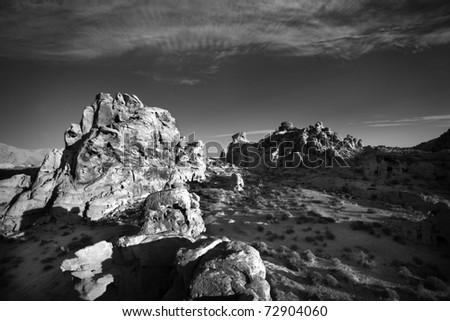 Black and White landscape in Valley of Fire State Park, Nevada, USA