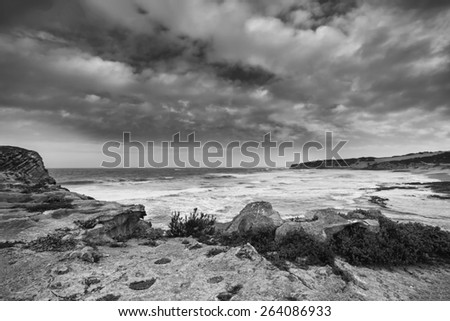 Black and white landscape of ocean rocks and clouds in artistic conversion