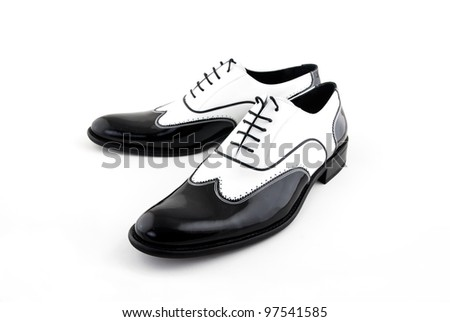 black and white leather mafia shoes
