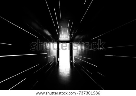 Black and White light tunnel background, Light at the end of tunnel, concept business successfully.