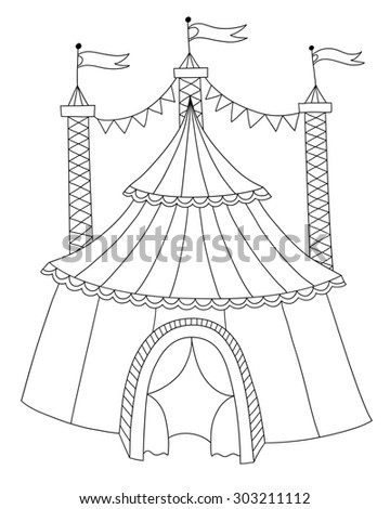 black and white line art illustration of circus tent you can use like coloring book  sc 1 st  Avopix.com & Royalty-free Silhouette and outline of three ringu2026 #78786448 Stock ...
