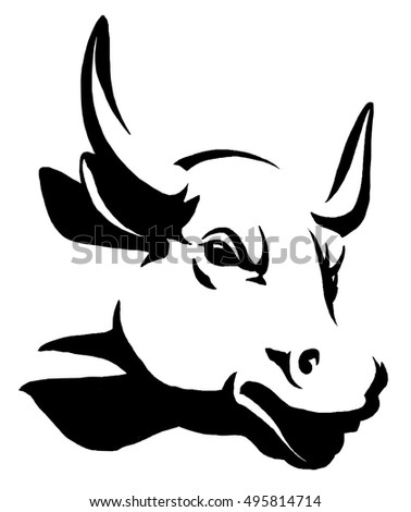 black and white linear paint draw bull illustration ez canvas