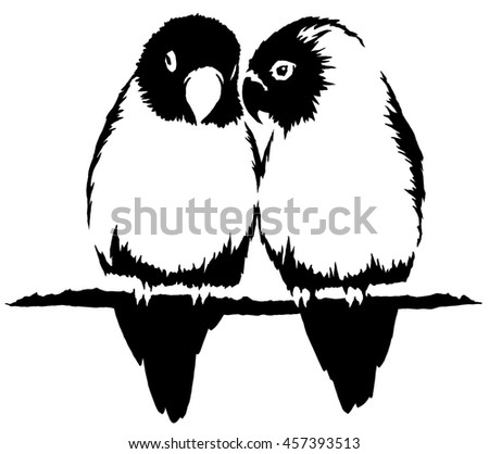 black and white linear paint draw parrot bird illustration