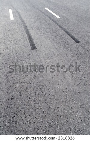 Black and white lines on a road
