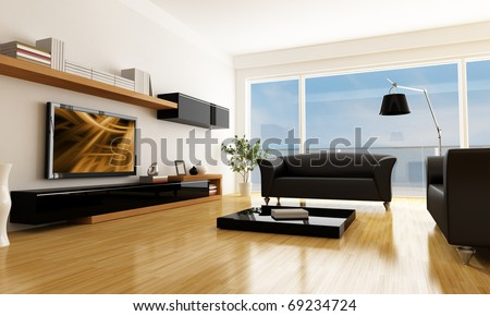 black and white living room with lcd tv -the art picture on screen is a my composition