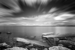 Black and white long exposure landscape