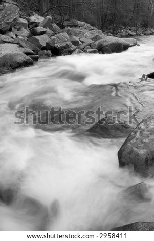 Black and white long exposure of Deer Creek - Rocks State Park, Maryland - stock photo