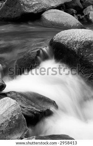 Black and white long exposure of Deer Creek - Rocks State Park, Maryland