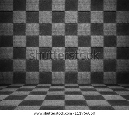 Black and white luxury room of square pattern material