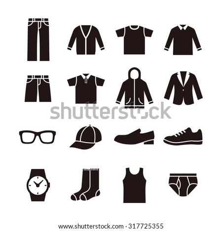Black and white man's fashion icon illustration