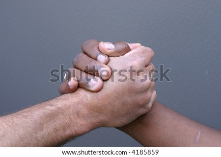 black and white hands shaking. stock photo : Black and white
