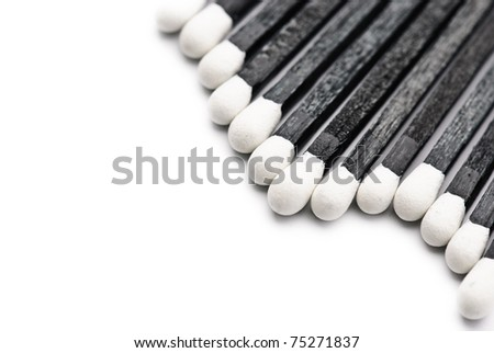 Black and White Matches isolated against a white background