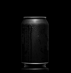 Black and white. metal can with cola or beer. Drops of condensation on the surface.