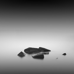 black and white minimalistic seascape / daytime long exposure / black sea, odessa, ukraine