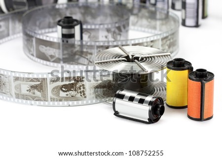 Black and white 35mm film cartridge and reel