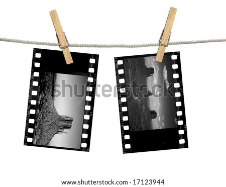 Black and White 35mm film negatives of Monument Valley Hanging on A Clothesline With Clothespins