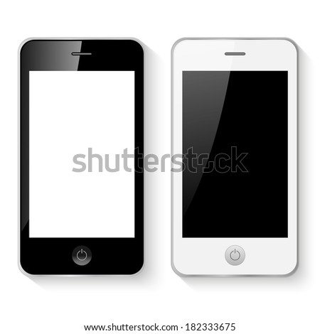 Black and white mobile smart phones illustration isolated. (EPS vector version also available in portfolio)