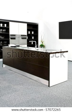 Black and white modern clean and tidy kitchen