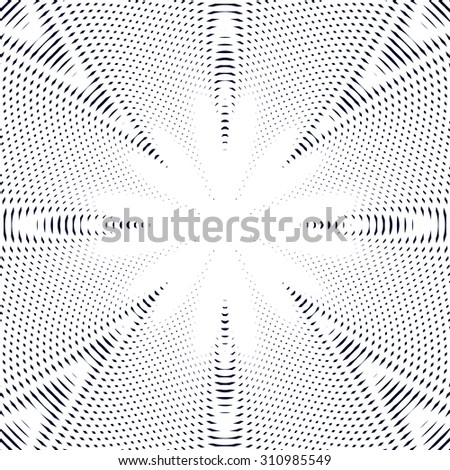Black and white moire lines, striped  background.  Op art style contrast pattern.