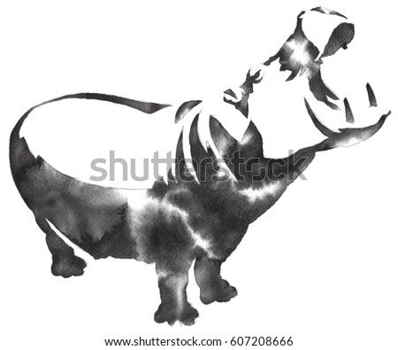 black and white monochrome painting with water and ink draw Hippo illustration