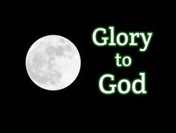 Black and white moon with space and glory to god bible words on dark background
