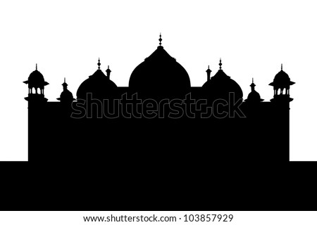 black and white mosque silhouette