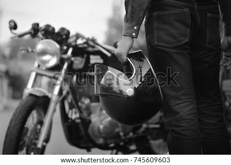 black and white motorcycle ...