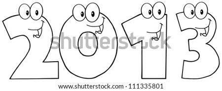 Black And White New Year 2013 Funny Numbers Cartoon Characters . Raster Illustration.Vector version also available in portfolio.