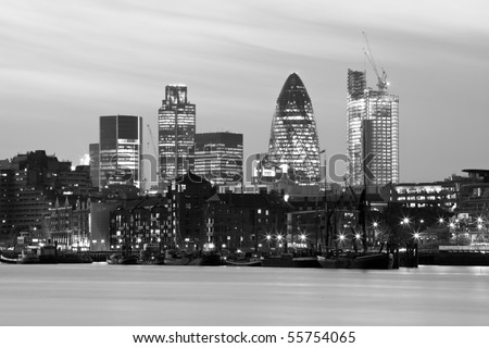 Black And White City At Night. lack and white city at night. stock photo : Black and white