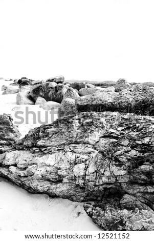black and white of beach rocks