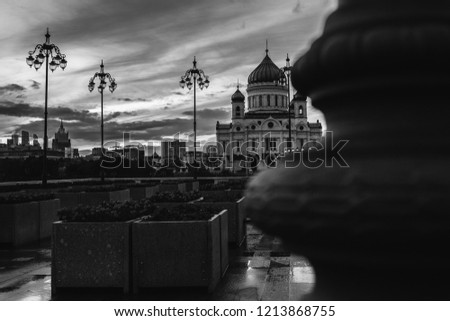 Black and White of Cathedral of Christ the Saviour. Unusual angle. Moscow city. Dramatic picture.