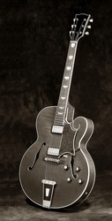 black and white of classic jazz guitar