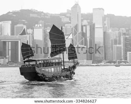 black and white of hong kong